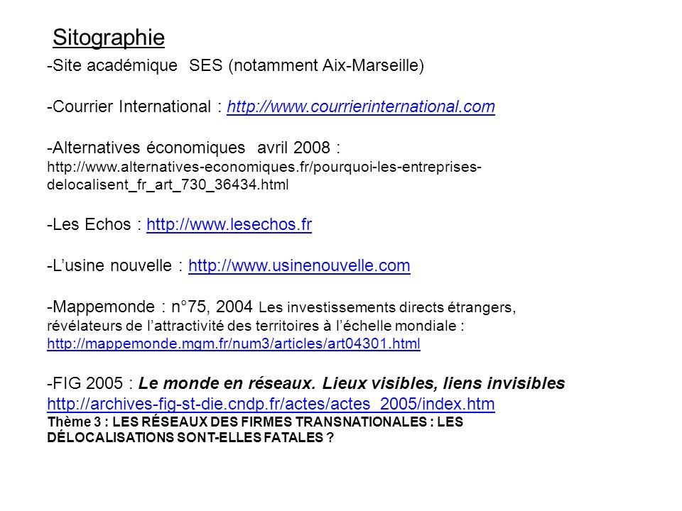 Sitographie -Site académique SES (notamment Aix-Marseille)