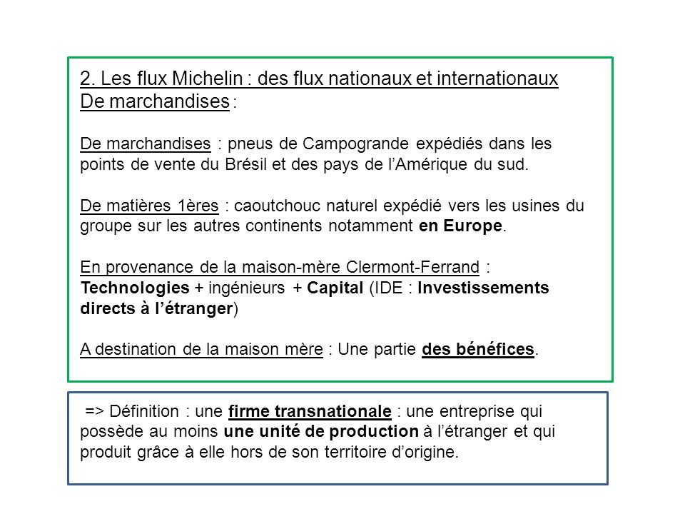 2. Les flux Michelin : des flux nationaux et internationaux