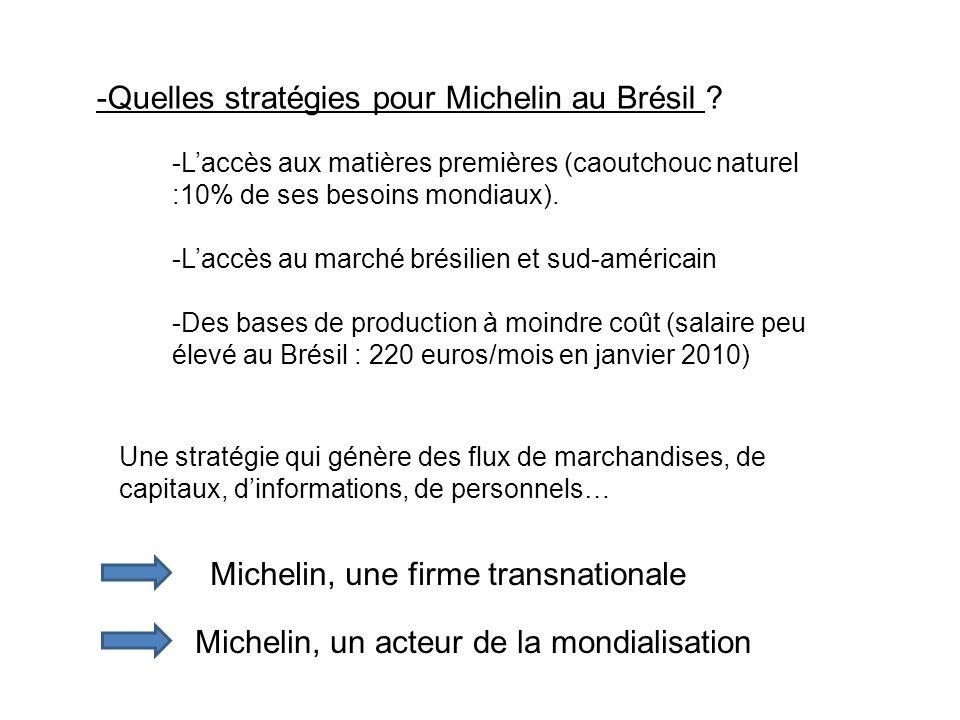 -Quelles stratégies pour Michelin au Brésil