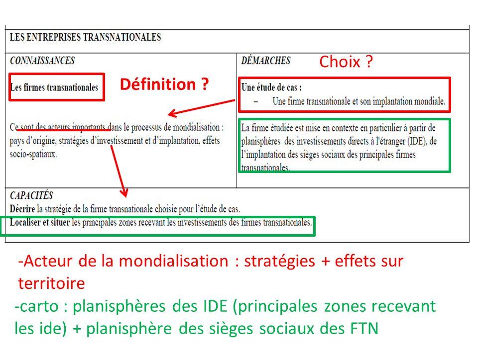 Choix Définition -Acteur de la mondialisation : stratégies + effets sur territoire.