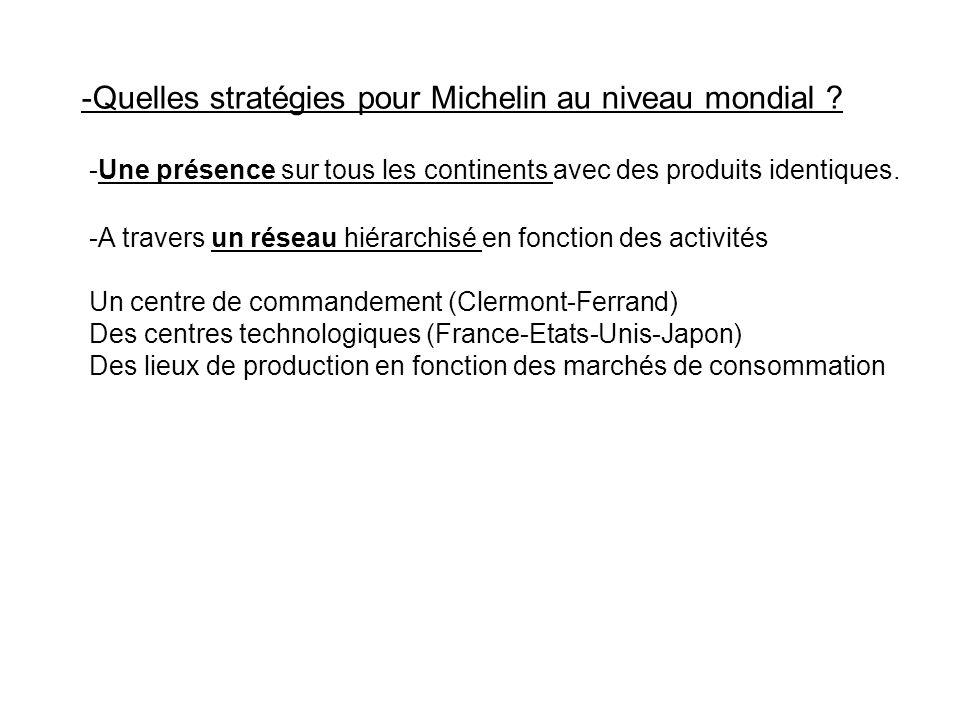 -Quelles stratégies pour Michelin au niveau mondial