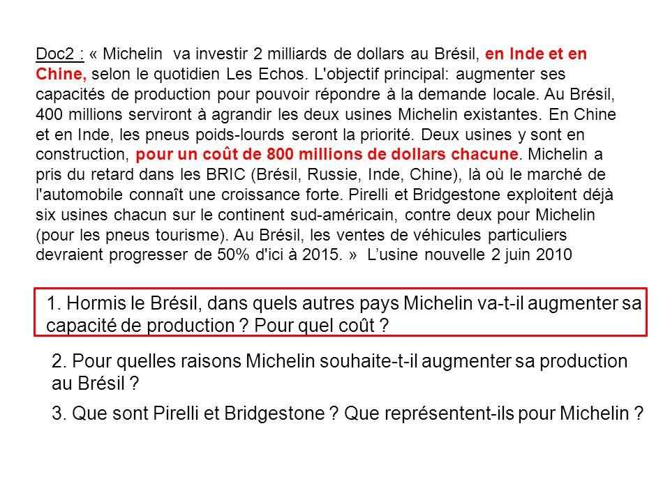 Doc2 : « Michelin va investir 2 milliards de dollars au Brésil, en Inde et en Chine, selon le quotidien Les Echos. L objectif principal: augmenter ses capacités de production pour pouvoir répondre à la demande locale. Au Brésil, 400 millions serviront à agrandir les deux usines Michelin existantes. En Chine et en Inde, les pneus poids-lourds seront la priorité. Deux usines y sont en construction, pour un coût de 800 millions de dollars chacune. Michelin a pris du retard dans les BRIC (Brésil, Russie, Inde, Chine), là où le marché de l automobile connaît une croissance forte. Pirelli et Bridgestone exploitent déjà six usines chacun sur le continent sud-américain, contre deux pour Michelin (pour les pneus tourisme). Au Brésil, les ventes de véhicules particuliers devraient progresser de 50% d ici à 2015. » L'usine nouvelle 2 juin 2010