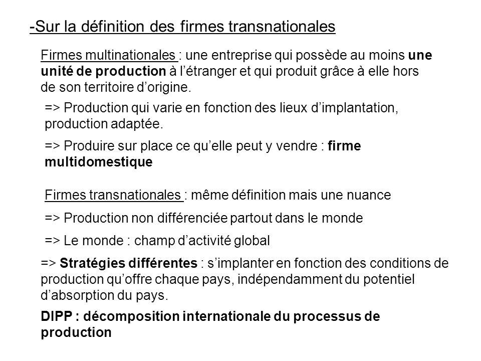 -Sur la définition des firmes transnationales