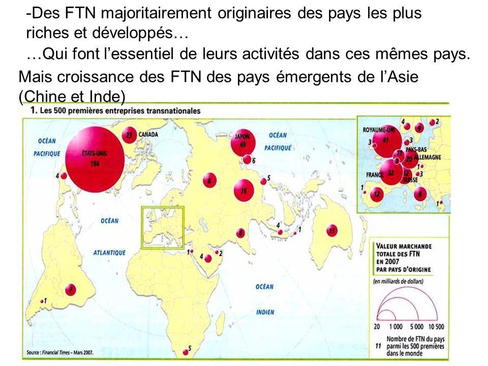 -Des FTN majoritairement originaires des pays les plus riches et développés…