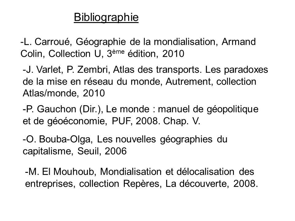 Bibliographie -L. Carroué, Géographie de la mondialisation, Armand Colin, Collection U, 3ème édition, 2010.