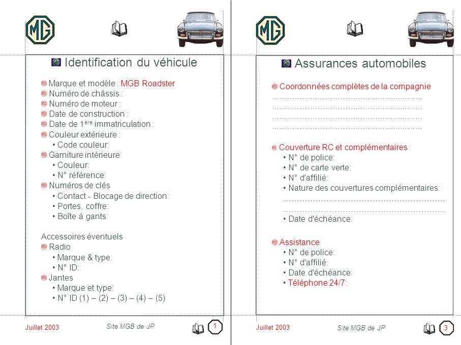 Identification du véhicule Assurances automobiles