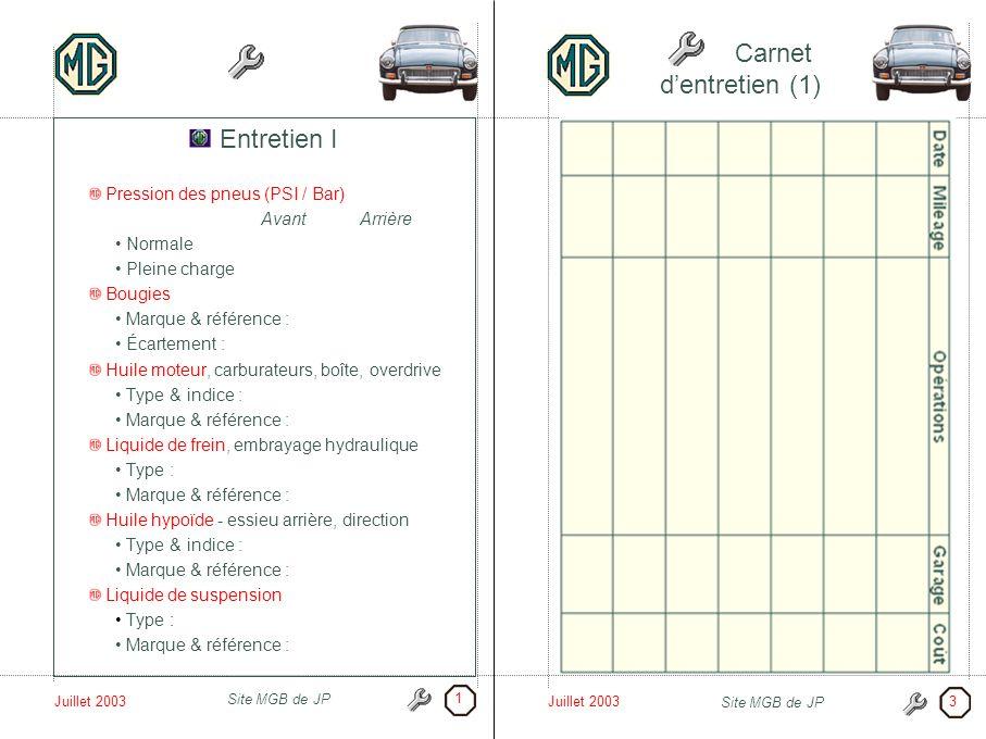 Carnet d'entretien (1) Entretien I Pression des pneus (PSI / Bar)
