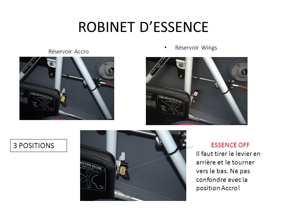 ROBINET D'ESSENCE 3 POSITIONS ESSENCE OFF