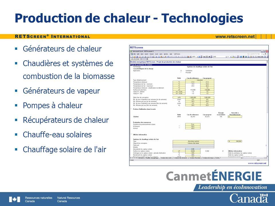 Production de chaleur - Technologies