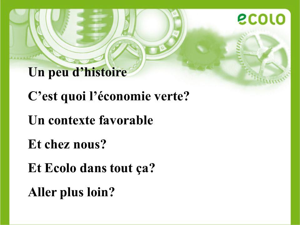 Un peu d'histoire C'est quoi l'économie verte Un contexte favorable. Et chez nous Et Ecolo dans tout ça