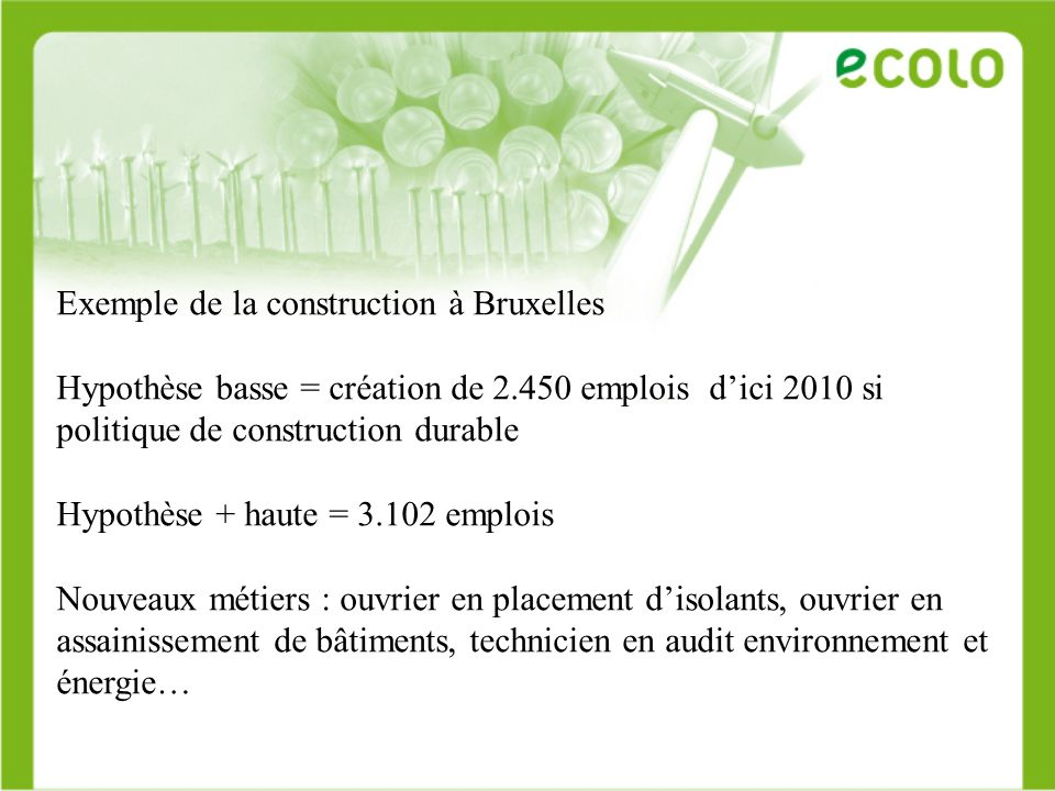 Exemple de la construction à Bruxelles