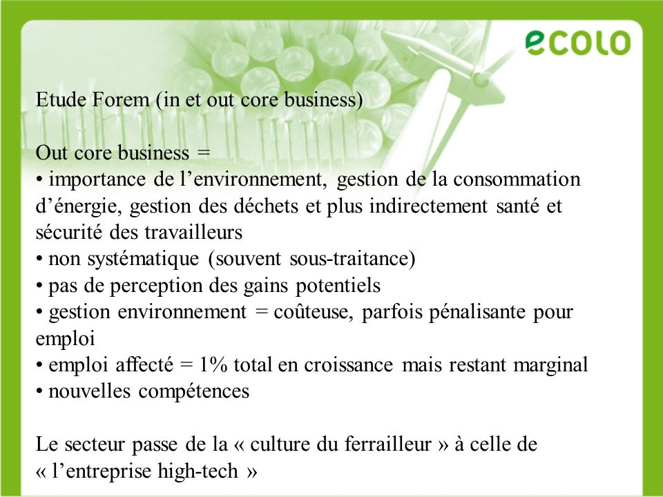 Etude Forem (in et out core business)