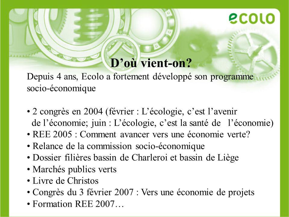 D'où vient-on Depuis 4 ans, Ecolo a fortement développé son programme socio-économique. 2 congrès en 2004 (février : L'écologie, c'est l'avenir.