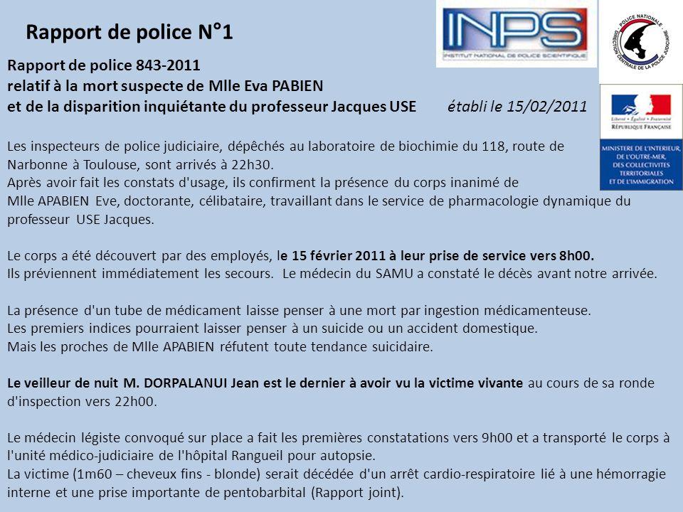 Rapport de police N°1 Rapport de police 843-2011