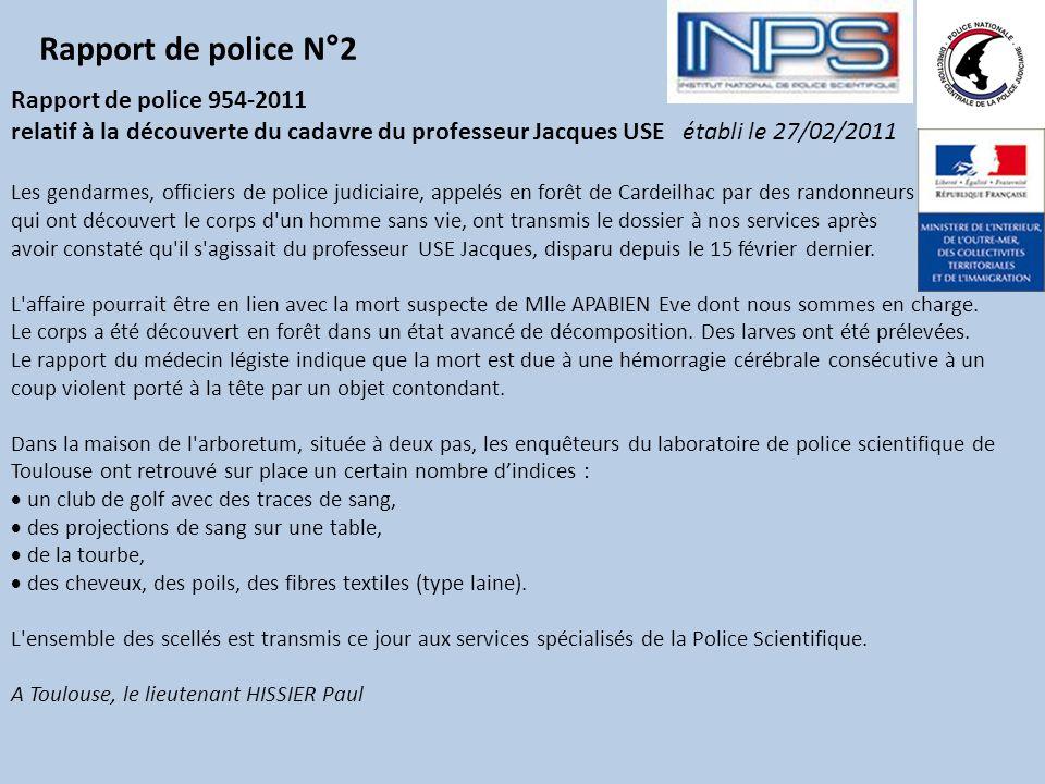 Rapport de police N°2 Rapport de police 954-2011