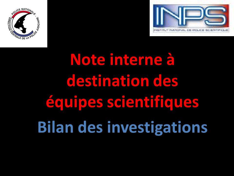 Note interne à destination des équipes scientifiques