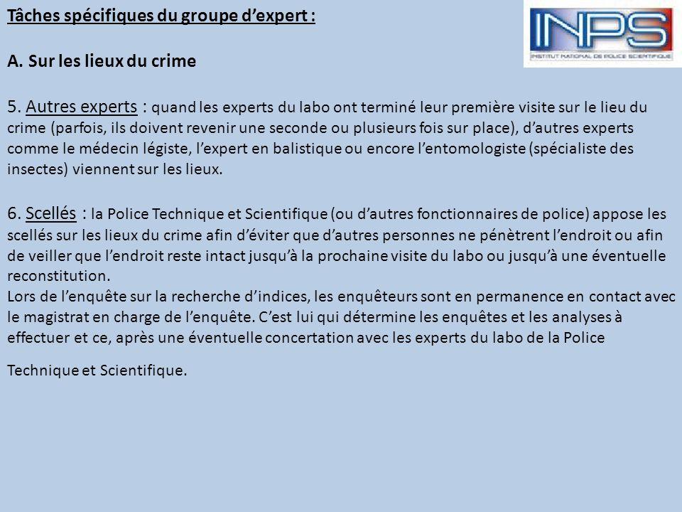 Tâches spécifiques du groupe d'expert : A. Sur les lieux du crime