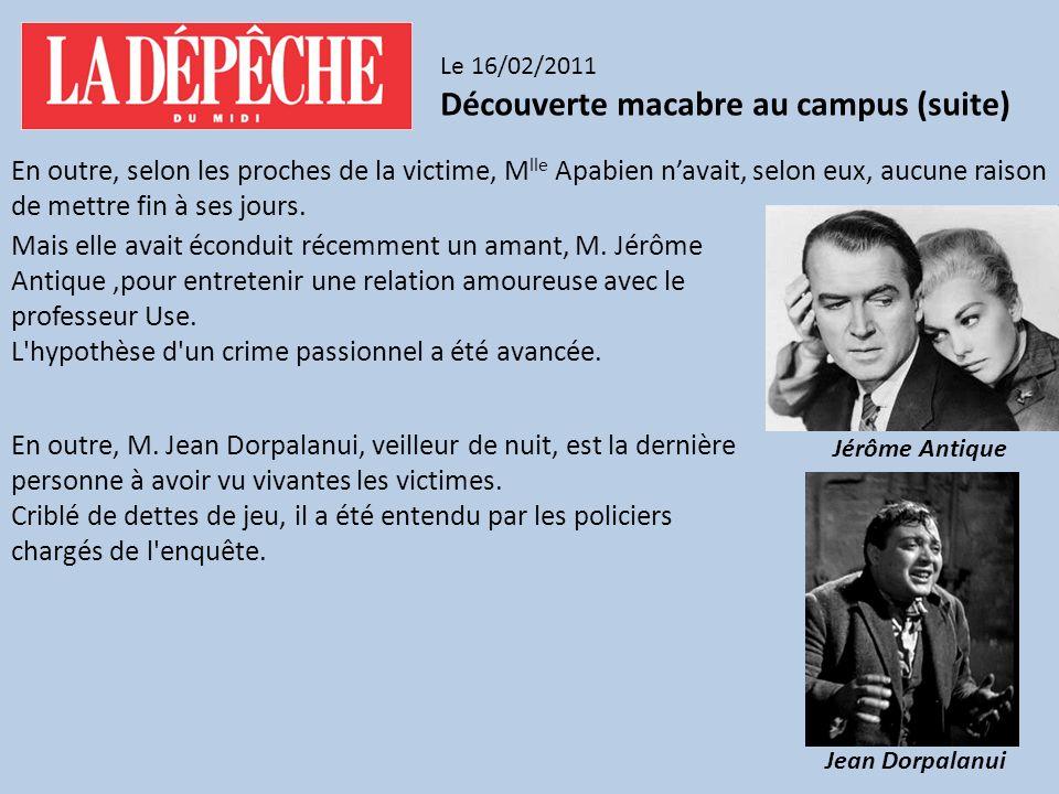 Découverte macabre au campus (suite)