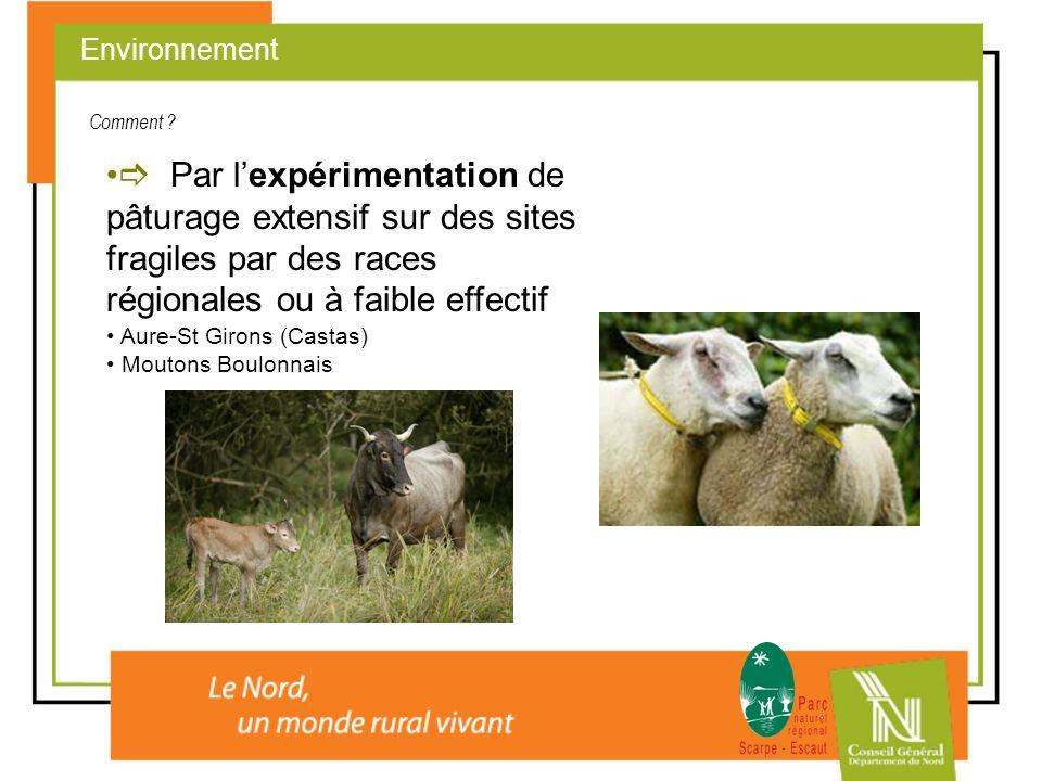 Environnement Comment  Par l'expérimentation de pâturage extensif sur des sites fragiles par des races régionales ou à faible effectif.
