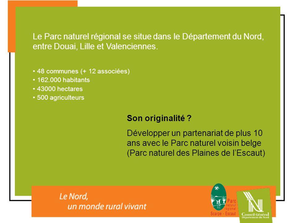 Le Parc naturel régional se situe dans le Département du Nord, entre Douai, Lille et Valenciennes.