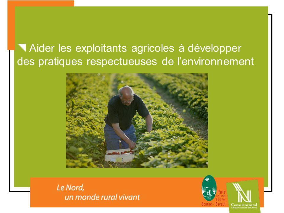  Aider les exploitants agricoles à développer des pratiques respectueuses de l'environnement