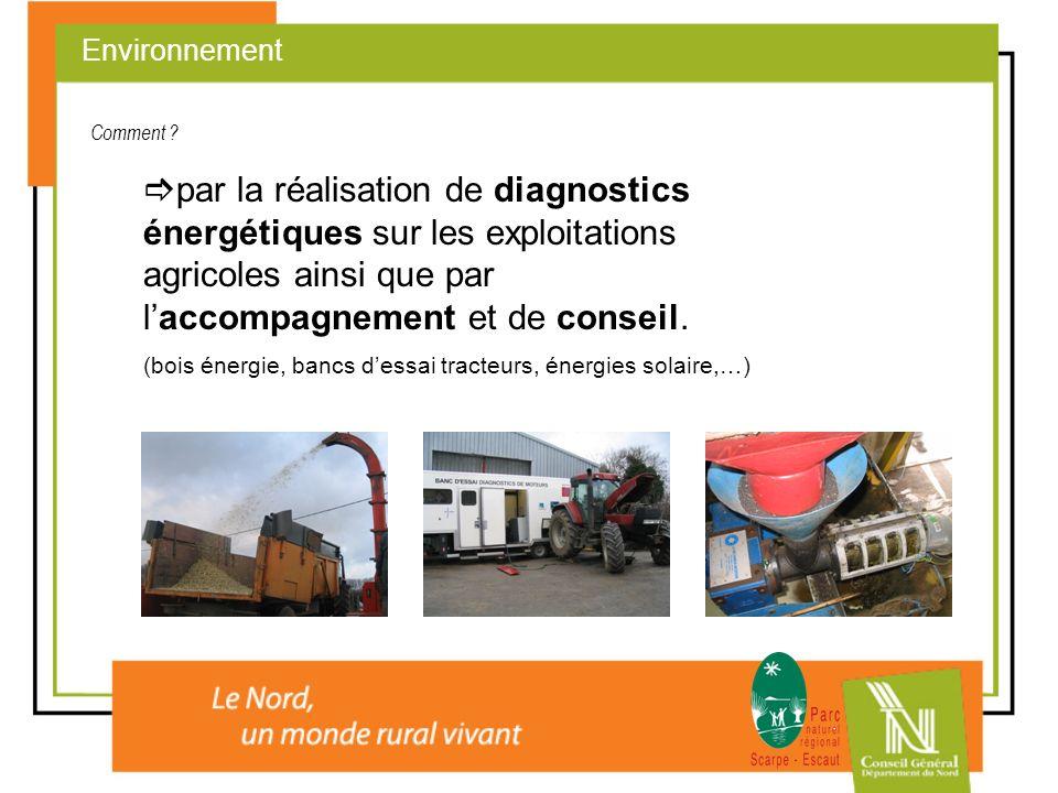 Environnement Comment par la réalisation de diagnostics énergétiques sur les exploitations agricoles ainsi que par l'accompagnement et de conseil.