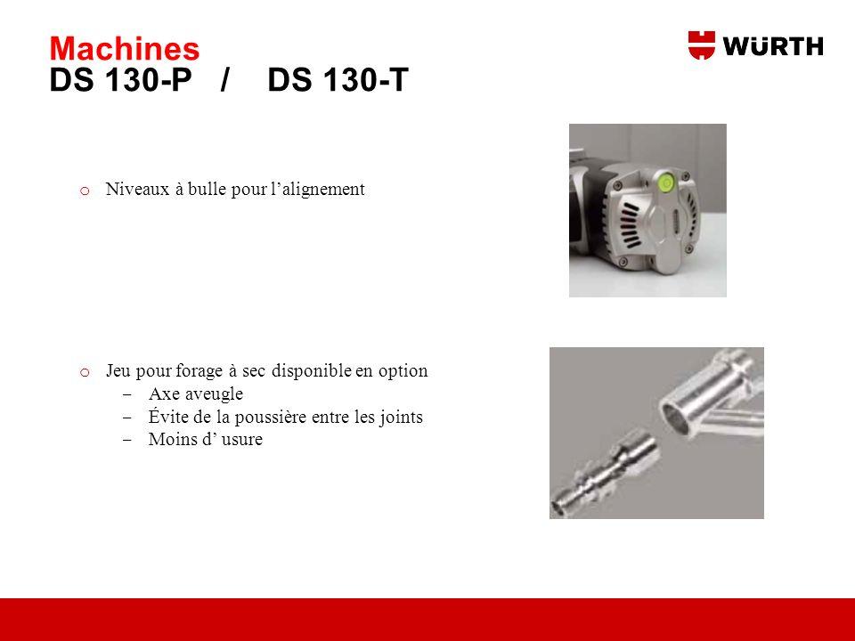 Machines DS 130-P / DS 130-T Niveaux à bulle pour l'alignement
