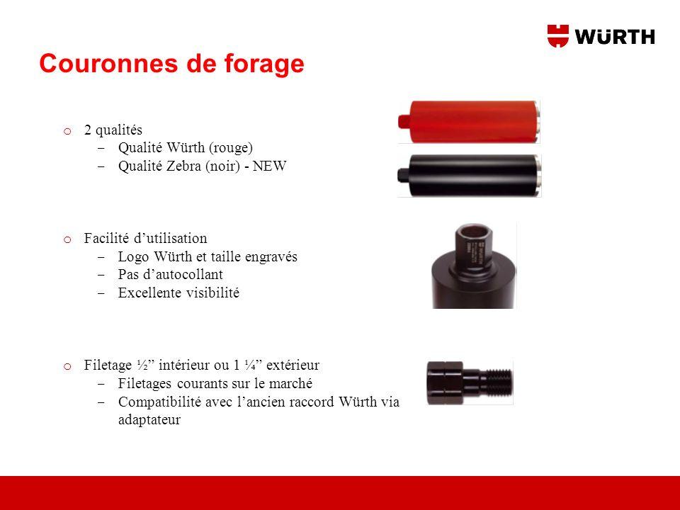 Couronnes de forage 2 qualités Qualité Würth (rouge)