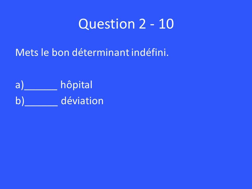 Question 2 - 10 Mets le bon déterminant indéfini. ______ hôpital