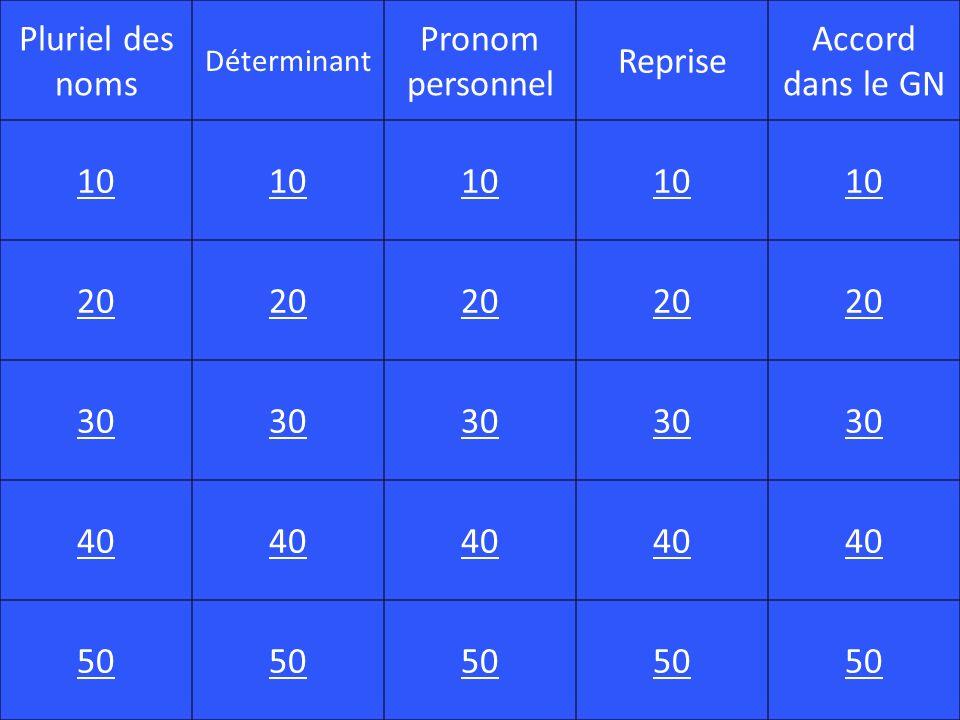 Pluriel des noms Pronom personnel Reprise Accord dans le GN 10 20 30