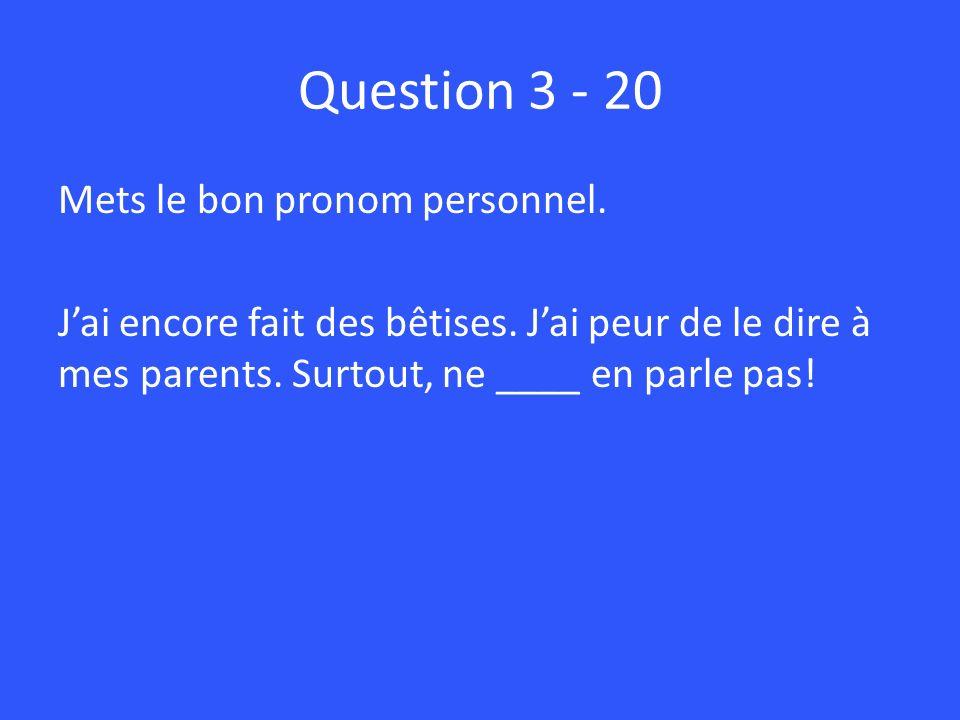 Question 3 - 20 Mets le bon pronom personnel. J'ai encore fait des bêtises.