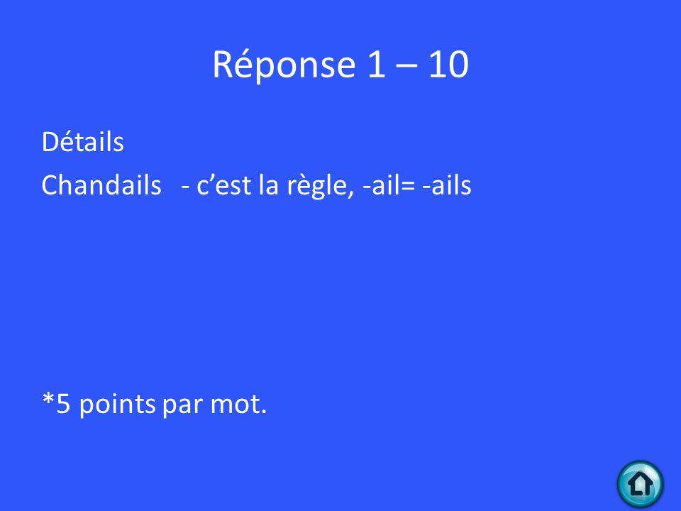 Réponse 1 – 10 Détails Chandails - c'est la règle, -ail= -ails *5 points par mot.