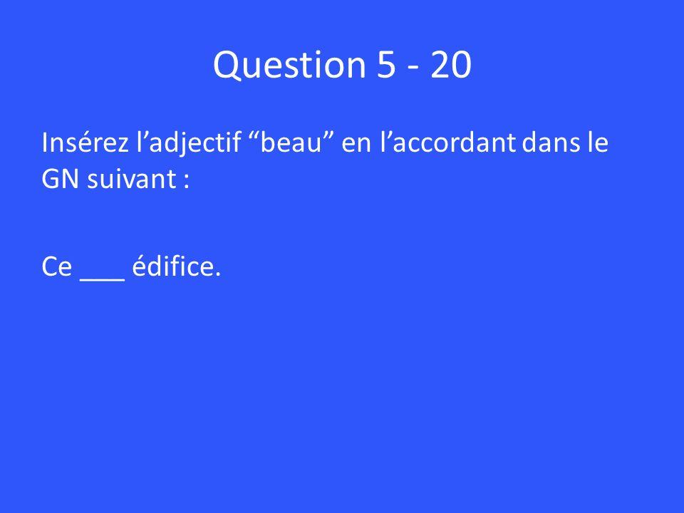 Question 5 - 20 Insérez l'adjectif beau en l'accordant dans le GN suivant : Ce ___ édifice.