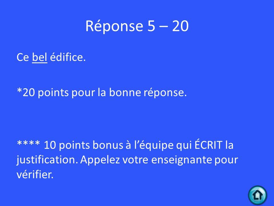 Réponse 5 – 20
