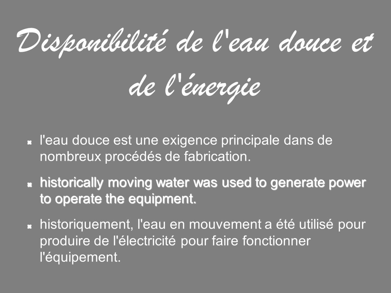 Disponibilité de l eau douce et de l énergie