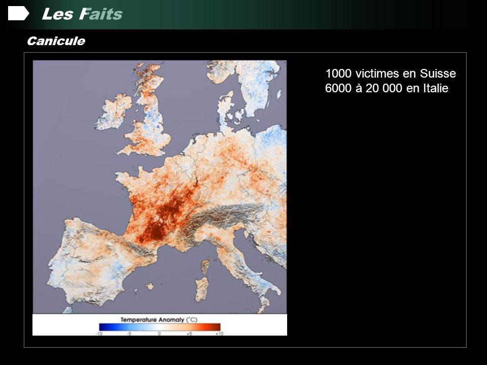 Les Faits Canicule 1000 victimes en Suisse 6000 à 20 000 en Italie