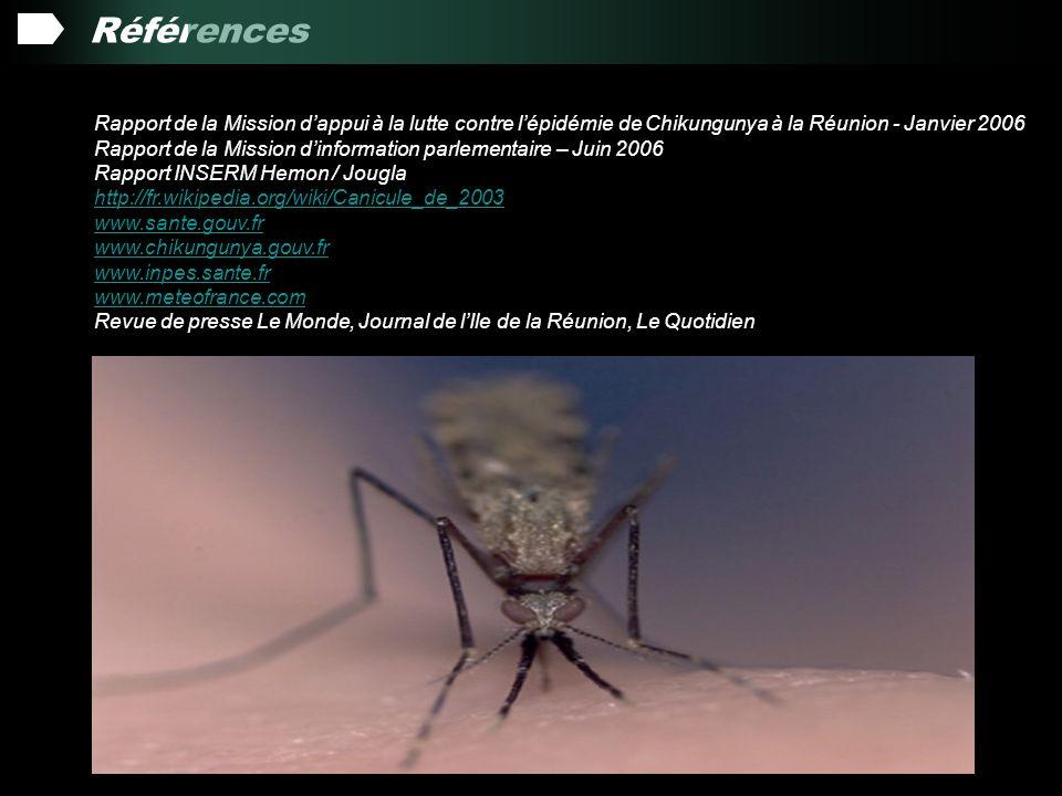 Références Rapport de la Mission d'appui à la lutte contre l'épidémie de Chikungunya à la Réunion - Janvier 2006.