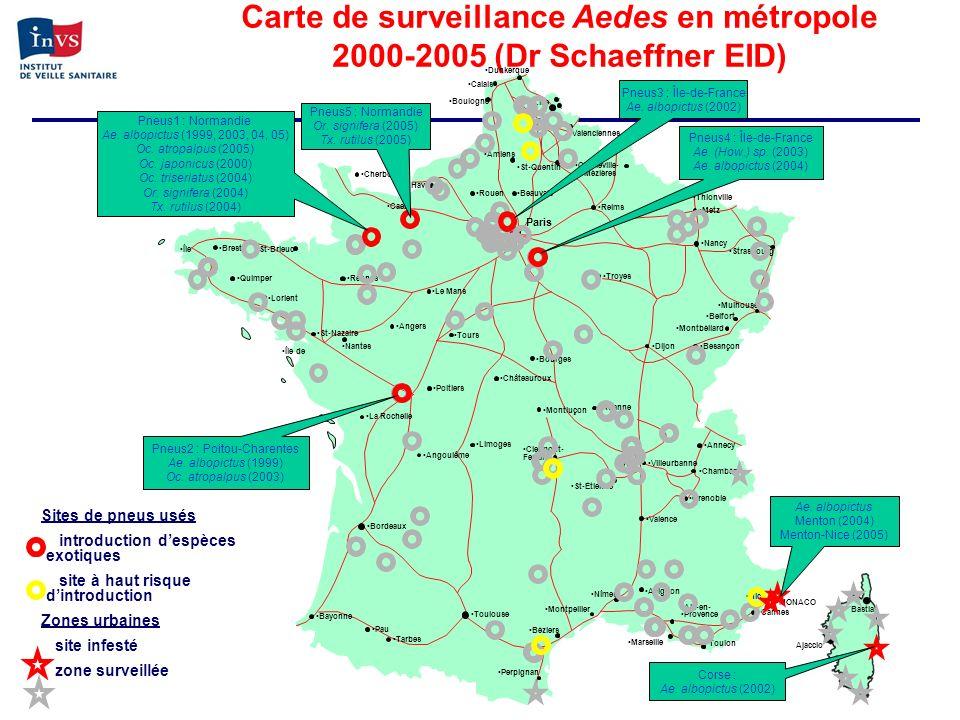 Carte de surveillance Aedes en métropole 2000-2005 (Dr Schaeffner EID)