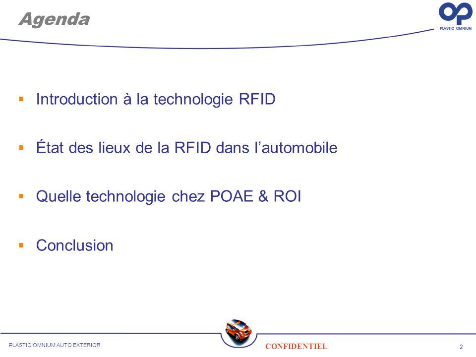 Agenda Introduction à la technologie RFID