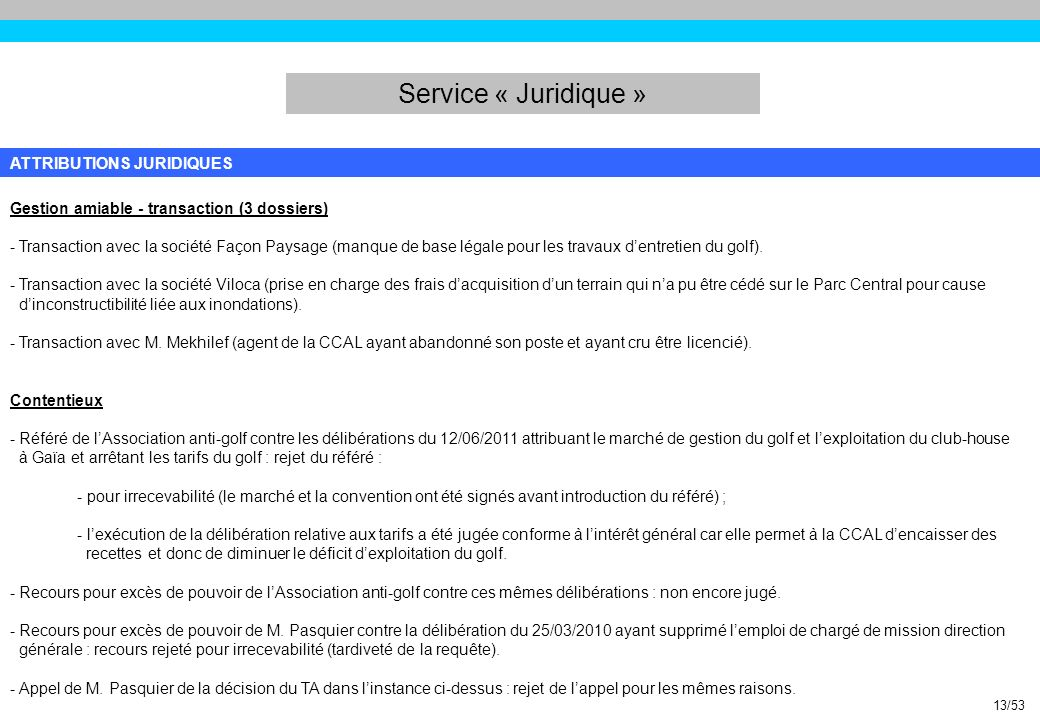 Service « Juridique » ATTRIBUTIONS JURIDIQUES