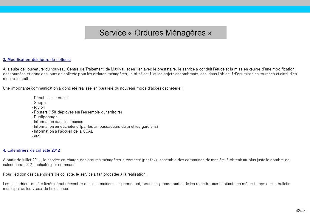 Service « Ordures Ménagères »