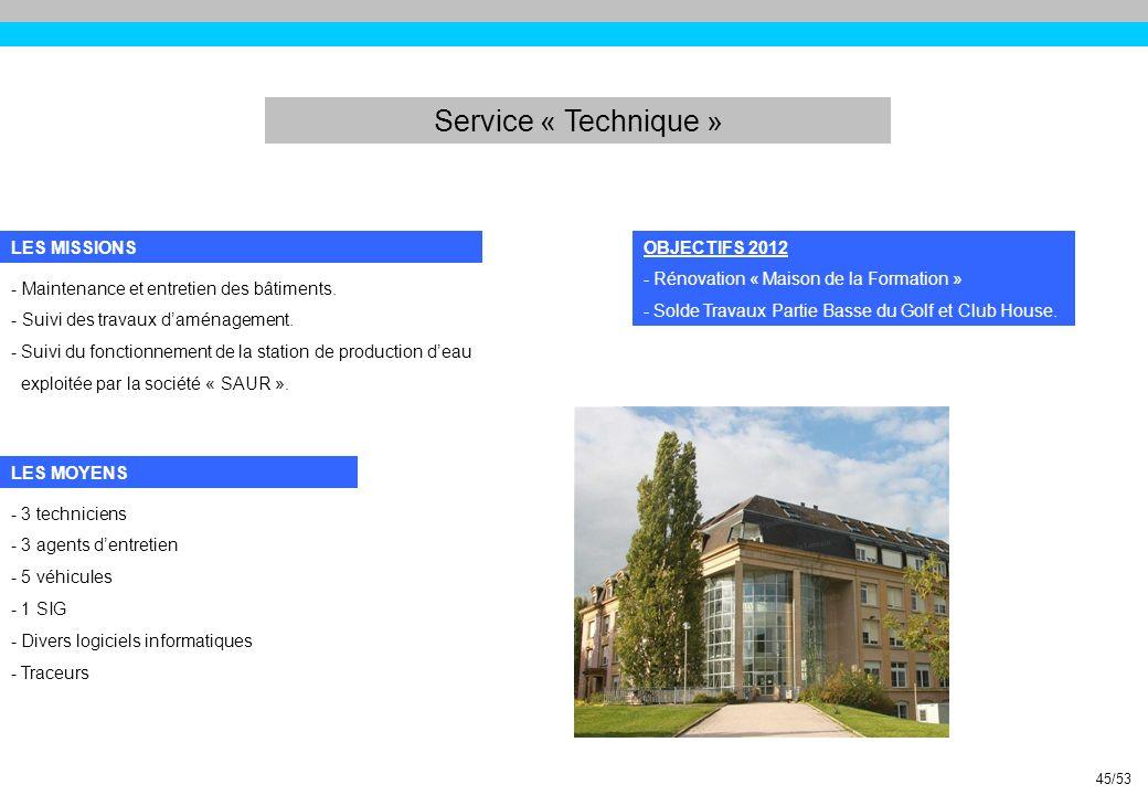 Service « Technique » LES MISSIONS OBJECTIFS 2012