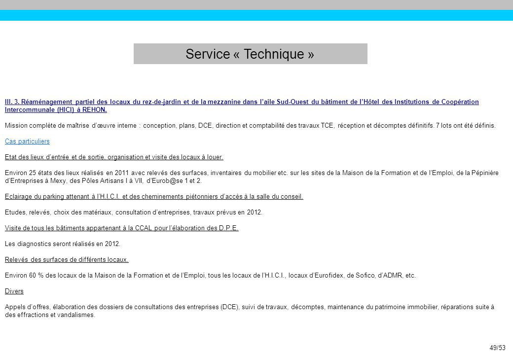 Service « Technique »