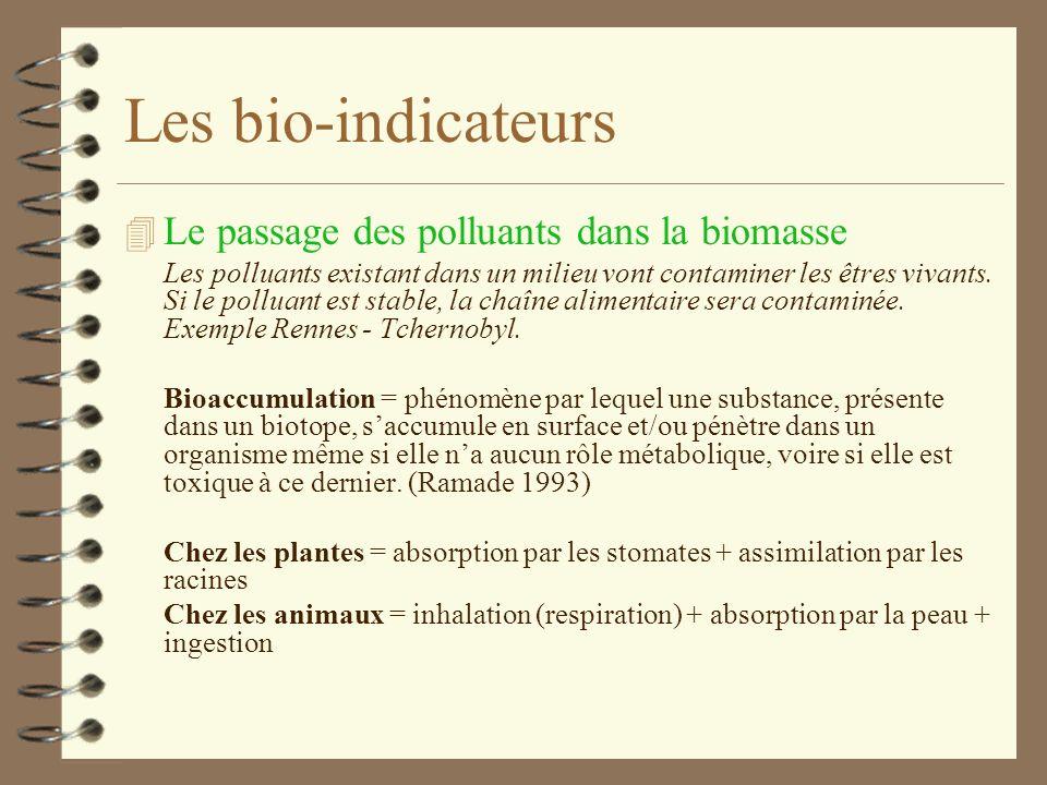 Les bio-indicateurs Le passage des polluants dans la biomasse