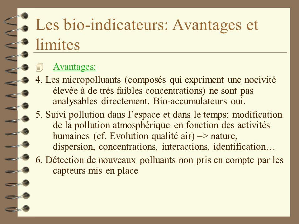 Les bio-indicateurs: Avantages et limites