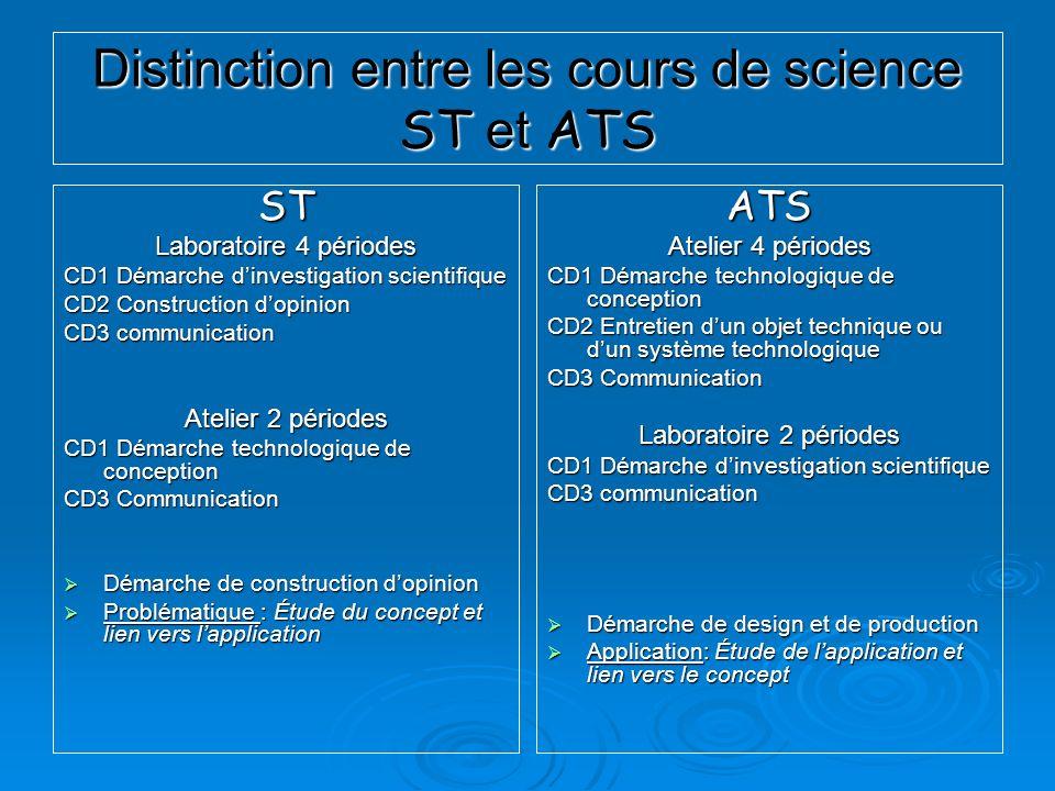 Distinction entre les cours de science ST et ATS