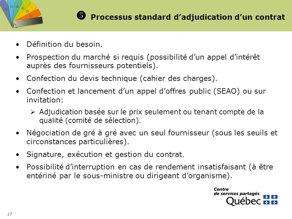  Processus standard d'adjudication d'un contrat