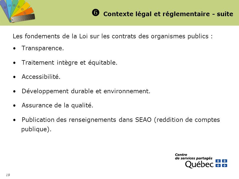  Contexte légal et réglementaire - suite