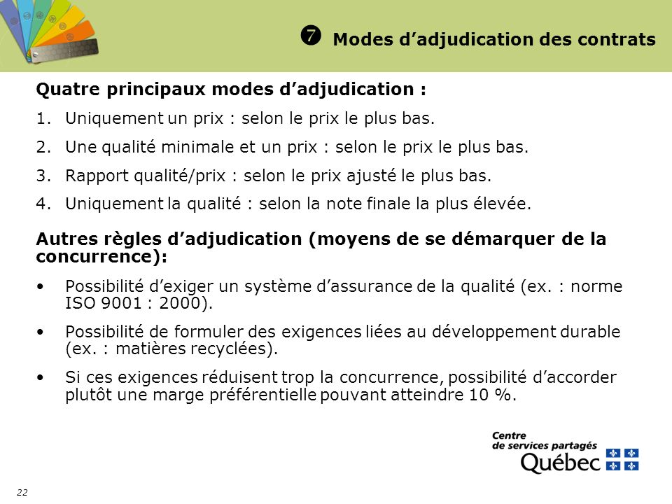  Modes d'adjudication des contrats