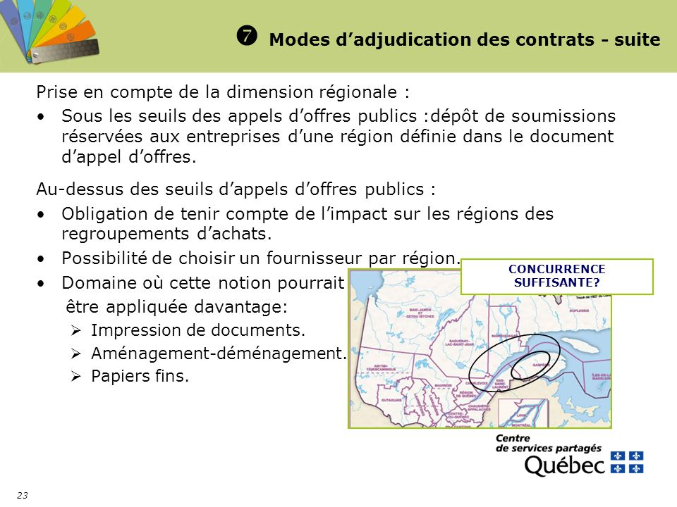  Modes d'adjudication des contrats - suite